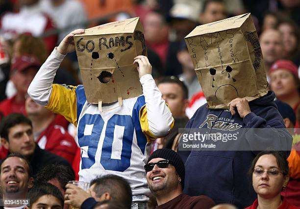 Fans of the St Louis Rams look on during their NFL Game on December 7 2008 at the University of Phoenix Stadium in Glendale Arizona