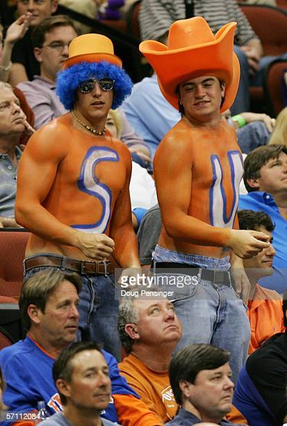 Fans of the Syracuse Orange cheer during their game against the Texas AM Aggies during round one of the NCAA National Championship on March 16 2006...