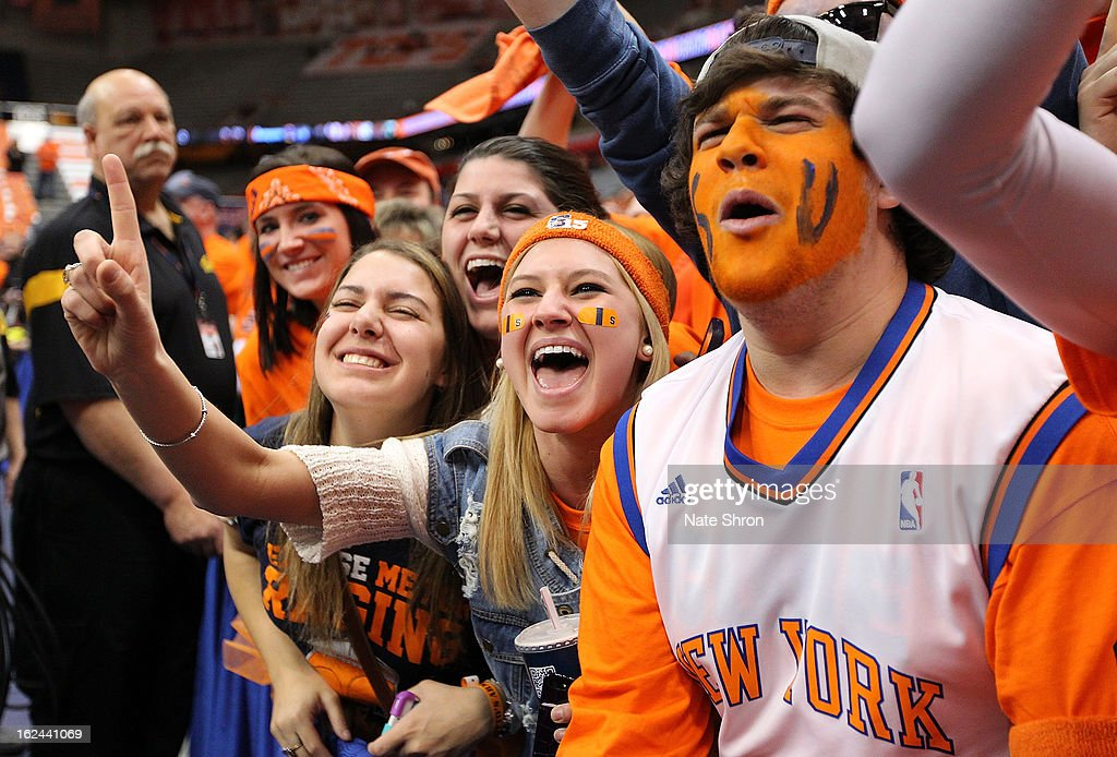 Fans of the Syracuse Orange cheer from the student section before the game against the Georgetown Hoyas at the Carrier Dome on February 23, 2013 in Syracuse, New York.