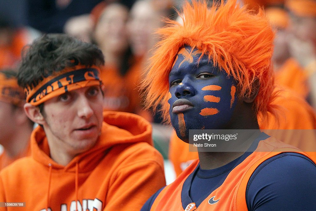 Fans of the Syracuse Orange look on before the game against the Cincinnati Bearcats at the Carrier Dome on January 21, 2013 in Syracuse, New York.