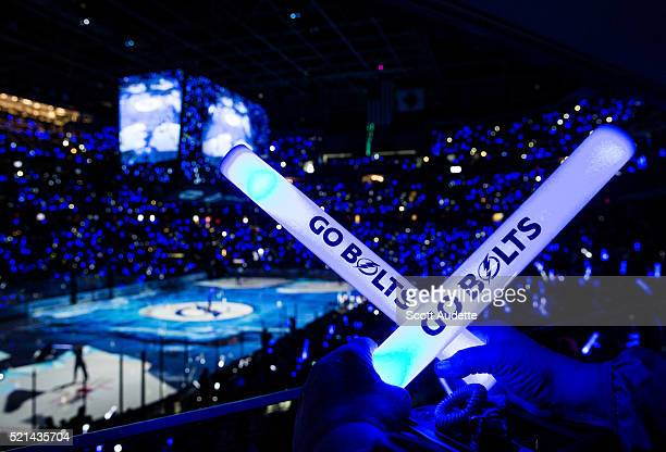 Fans of the Tampa Bay Lightning illuminate the arena with glow sticks before the game against the Detroit Red Wings in Game Two of the Eastern...