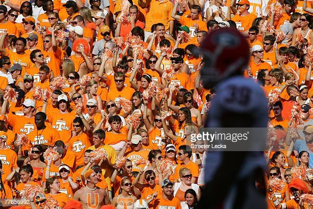 Fans of the Tennessee Volunteers cheer in the stands against the Georgia Bulldogs during their game at Neyland Stadium on October 6 2007 in Knoxville...