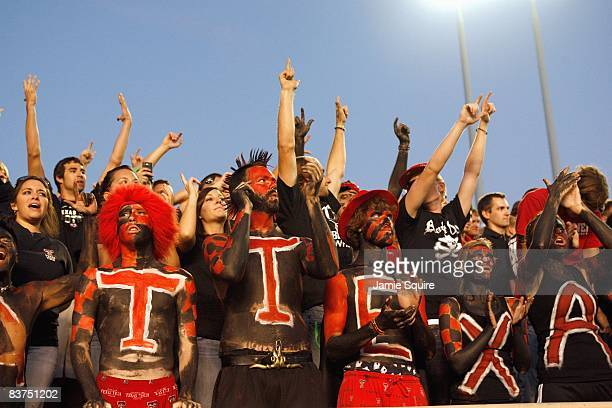 Fans of the Texas Tech Red Raiders cheer in the stands before the game against the Texas Longhorns on November 1 2008 at Jones Stadium in Lubbock...
