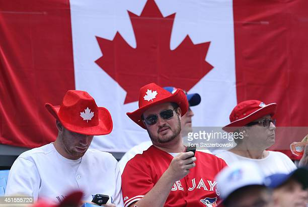 Fans of the Toronto Blue Jays celebrate Canada Day before the start of MLB game action against the Milwaukee Brewers on July 1 2014 at Rogers Centre...