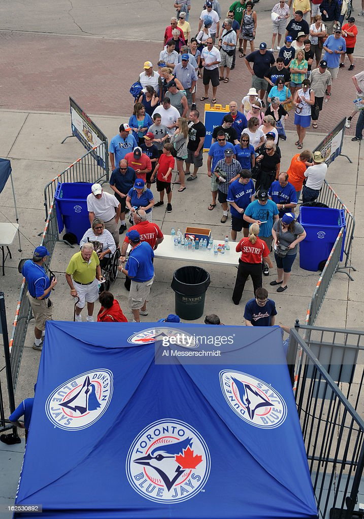 Fans of the Toronto Blue Jays line up for entry before play against the Baltimore Orioles February 24, 2013 at the Florida Auto Exchange Stadium in Dunedin, Florida.