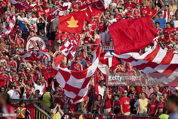 Fans of the Toronto FC cheer on the team during the match against DC United at BMO Field on August 15 2009 in Toronto Canada Toronto won the game 20