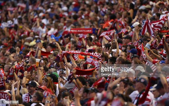 Fans of the United States celebrate their win over Honduras during the second half of a World Cup qualifying match on June 18 2013 at Rio Tinto...