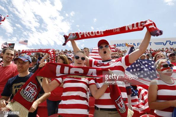 Fans of the United States cheer during a game against Cuba during the first half of a CONCACAF Gold Cup match July 13 2013 at Rio Tinto Stadium in...