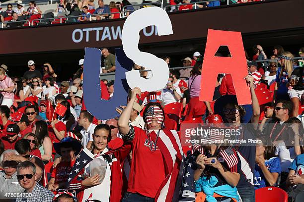 Fans of the United States cheer in the first half against China in the FIFA Women's World Cup 2015 Quarter Final match at Lansdowne Stadium on June...