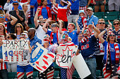 Fans of the United States cheer in the second half against Colombia in the FIFA Women's World Cup 2015 Round of 16 match at Commonwealth Stadium on...