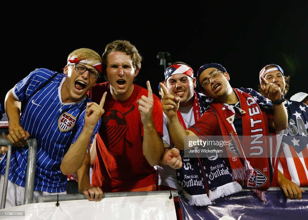 Fans of the United States cheer in the second half during the CONCACAF Gold Cup match at Rentschler Field on July 16, 2013 in East Hartford, Connecticut.