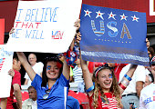 Fans of the United States hold signs prior to the match against China in the FIFA Women's World Cup 2015 Quarter Final match at Lansdowne Stadium on...