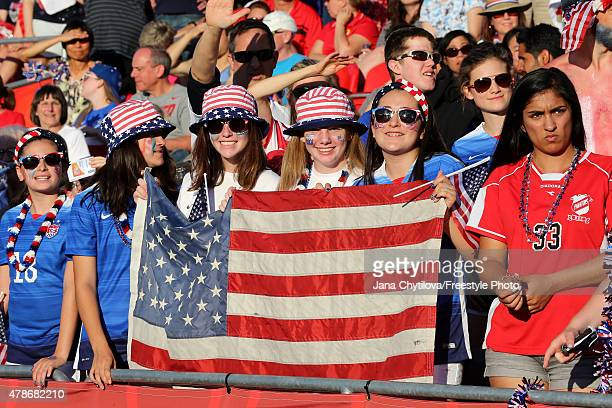 Fans of the United States look on in the second half against China in the FIFA Women's World Cup 2015 Quarter Final match at Lansdowne Stadium on...