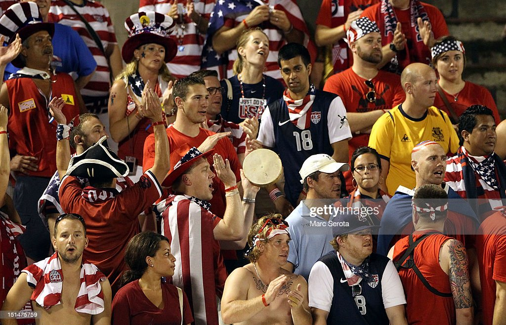 Fans of the United States react after a loss against Jamaica during the United States and Jamaica World Cup Qualifier at National Stadium on September 7, 2012 in Kingston, Jamaica.