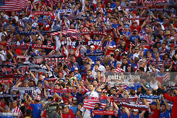 Fans of the United States show their colors during the playing of the United States national anthem prior to the 2017 FIFA Confederations Cup...