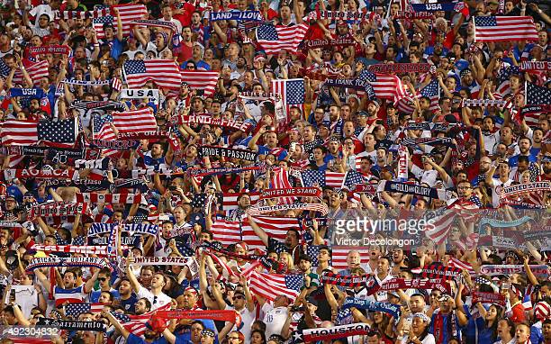 Fans of the United States show their support during the 2017 FIFA Confederations Cup Qualifying match between Mexico and the United States at Rose...