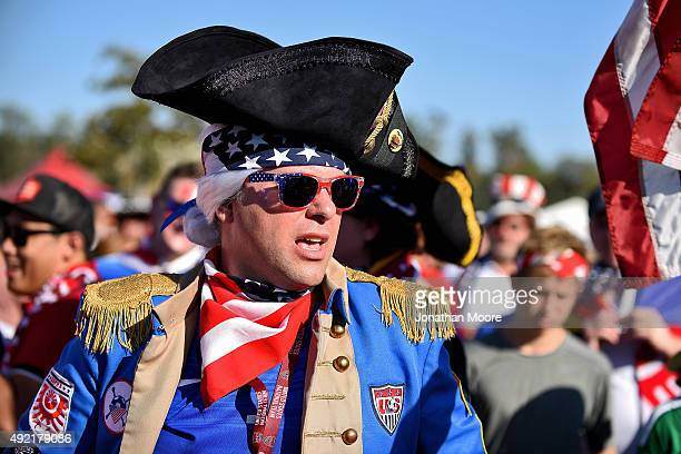 Fans of the United States stand outside the stadium before the 2017 FIFA Confederations Cup Qualifier at Rose Bowl on October 10 2015 in Pasadena...