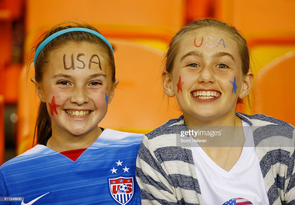 Fans of the United States wait for the start of the game against Trinidad and Tobago during their Semifinal of the 2016 CONCACAF Women's Olympic Qualifying at BBVA Compass Stadium on February 19, 2016 in Houston, Texas.