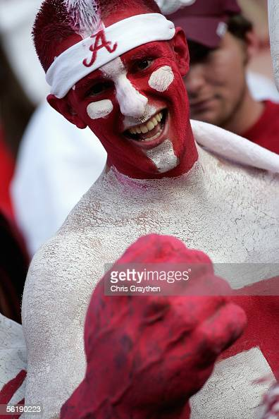 Fans of the University of Alabama Crimson Tide display their body paint during the game with the Louisiana State University Tigers on November 12...