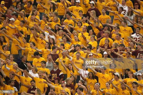 Fans of the University of Minnesota Golden Gophers cheer prior to the game as Miami of Ohio Redhawks face the Minnesota Golden Gophers at the...