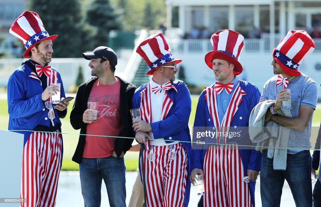 Fans of the U.S. Team look on during Sunday singles matches of the Presidents Cup at Liberty National Golf Club on October 1, 2017 in Jersey City, New Jersey.
