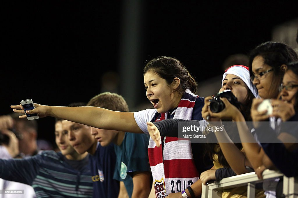 Fans of the USA cheer as they play against China at FAU Stadium on December 15, 2012 in Boca Raton, Florida. The USA defeated China 4-1.