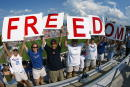 Fans of the Washington Freedom hold up a sign during the WUSA Founders Cup II Championship game against and the Carolina Courage on August 24 2002 at...