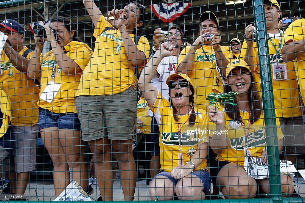 Fans of the West team from Huntington Beach, California celebrate after the West defeated the Japan team from Hamamatsu City, Japan 2-1 to win the Little League World Series championship game on August 28, 2011 in South Williamsport, Pennsylvania.