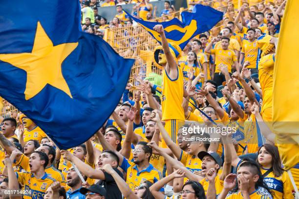 Fans of Tigres cheer for their team during the quarter finals first leg match between Tigres UANL and Monterrey as part of the Torneo Clausura 2017...