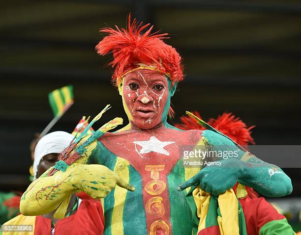A fans of Togo supports his team during the African Cup of Nations Group C soccer match between IMorocco and Togo at the Stade d'Oyem on January 20...