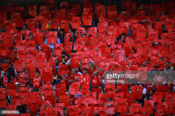 Fans of Toluca cheer for their team during the 6th round match between Toluca and Veracruz as part of the Torneo Clausura 2017 Liga MX at Nemesio...