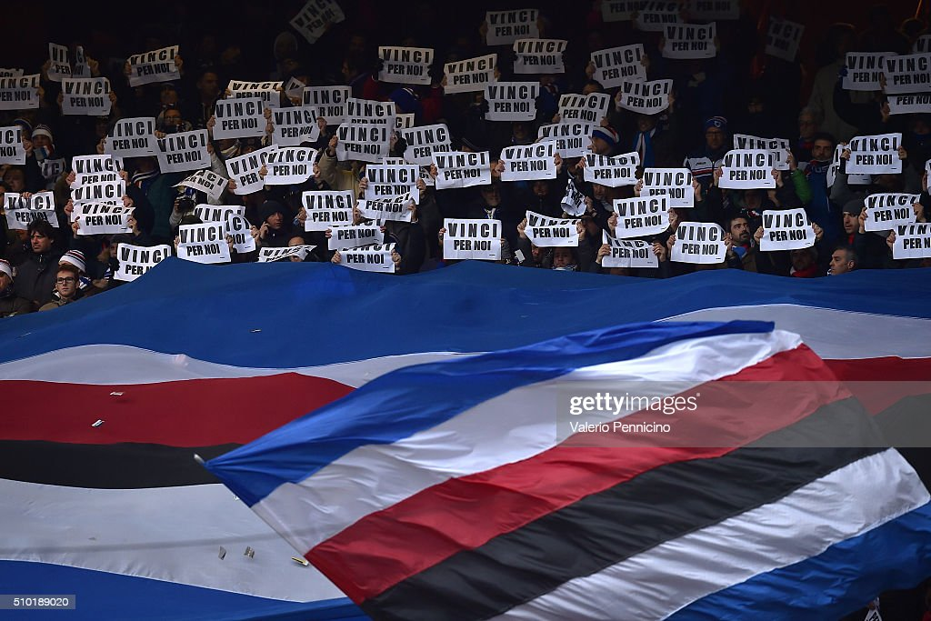 Fans of UC Sampdoria Fans show the sheets saying 'you win for us' during the Serie A match between UC Sampdoria and Atalanta BC at Stadio Luigi Ferraris on February 14, 2016 in Genoa, Italy.