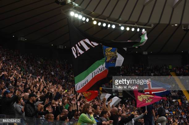 Fans of Udinese show their support during the Serie A match between Udinese Calcio and Genoa CFC at Stadio Friuli on September 10 2017 in Udine Italy