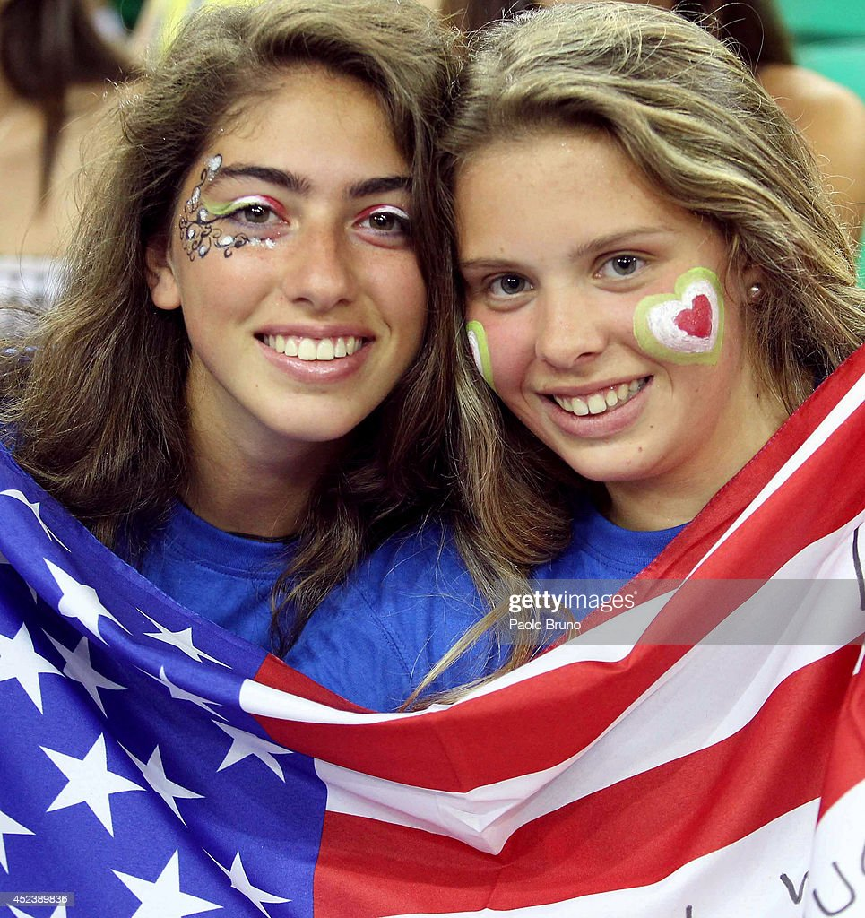 Fans of United States look on during the FIVB World League Final Six semifinal match between Iran and United States at Mandela Forum on July 19, 2014 in Florence, Italy.