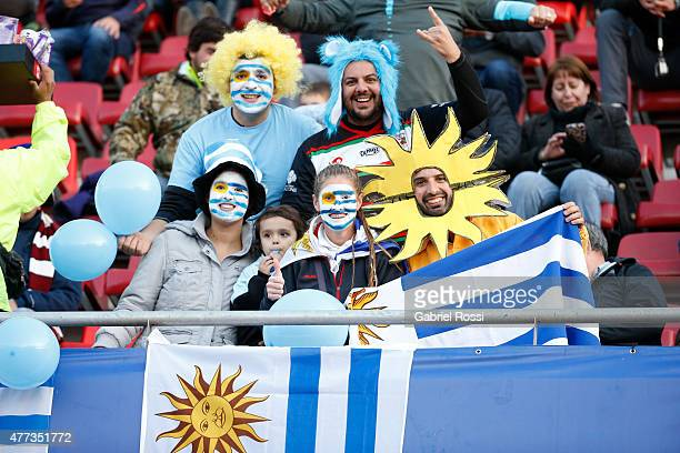 Fans of Uruguay enjoy the atmosphere prior the 2015 Copa America Chile Group B match between Argentina and Uruguay at La Portada Stadium on June 16...
