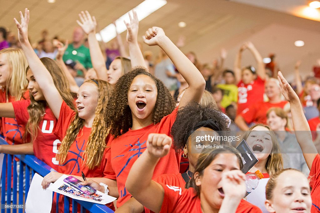 Fans of USA Basketball Women's National Team cheer during the game against France during the USA Basketball Showcase on July 27 2016 at Bob Carpenter...