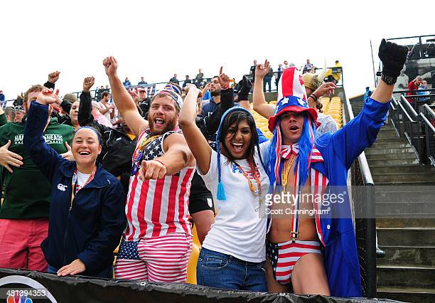 Fans of USA Eagles celebrate after a try against Uruguay during the opening qualifying match of the 2015 IRB Rugby World Cup between Uruguay and the...