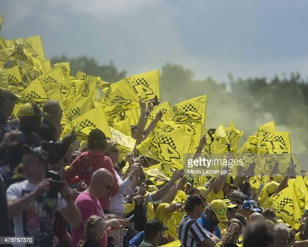 Fans of Valentino Rossi of Italy and Movistar Yamaha MotoGP during the MotoGP race during the MotoGP Netherlands Race at on June 27 2015 in Assen...