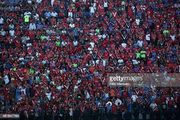 Fans of Veracruz cheer for their team during a 1st round match between Veracruz and Chivas as part of the Apertura 2015 Liga MX at Luis 'Pirata'...
