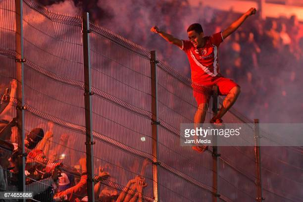 Fans of Veracruz cheer for their team during the 16th round match between Veracruz and Monterrey as part of the Torneo Clausura 2017 Liga MX at Luis...