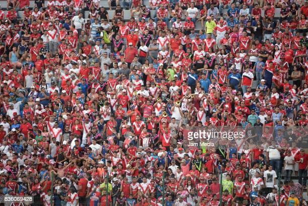 Fans of Veracruz cheer their team during the fifth round match between Veracruz and Queretaro as part of the Torneo Apertura 2017 Liga MX at Luis...