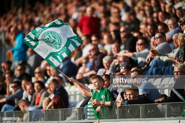 Fans of Viborg FF cheer during the Danish Alka Superliga match between Viborg FF and AGF Aarhus at Energi Viborg Arena on May 22 2017 in Viborg...