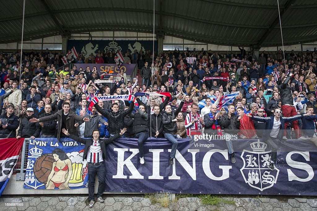 fans of Willem II during the Dutch Eredivisie match between Willem II and AZ Alkmaar on May 12, 2013 at the Koning Willem II stadium in Tilburg, The Netherlands.