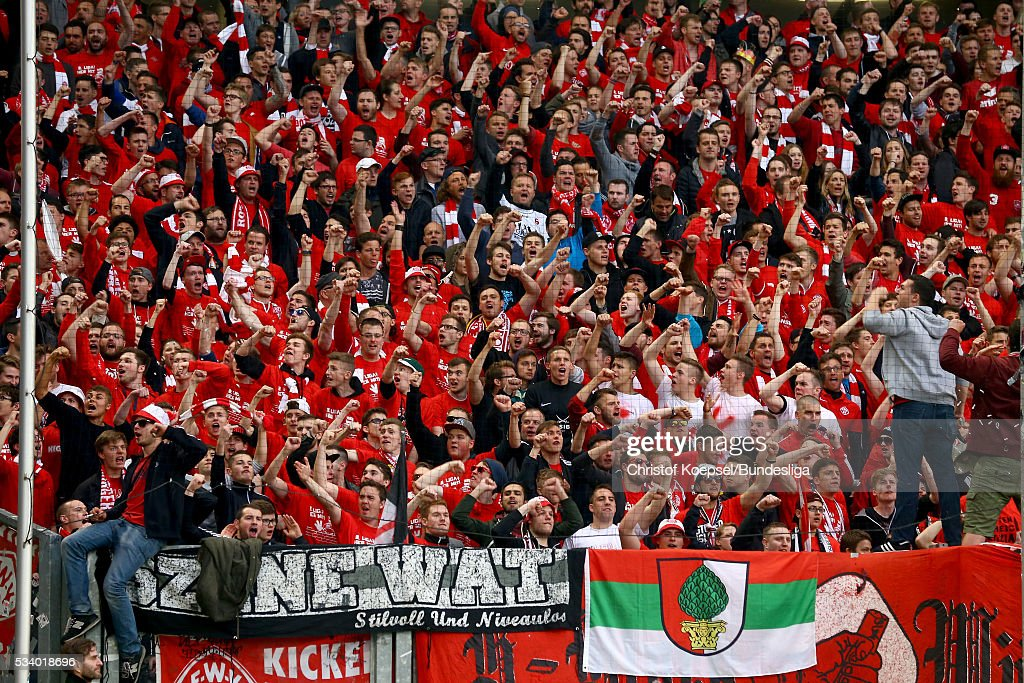 Fans of Wuerzburg celebrate during the Second Bundesliga play-off second leg match between MSV Duisburg and Wuerzburger Kickers at Schauinsland-Reisen-Arena on May 24, 2016 in Duisburg, Germany.