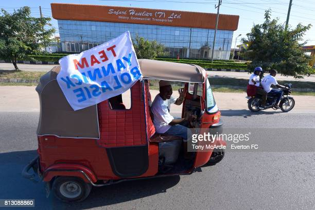 Fans of Yannick Bolasie show their support as Everton arrive in DarEsSalaam on July 12 2017 in Halewood England