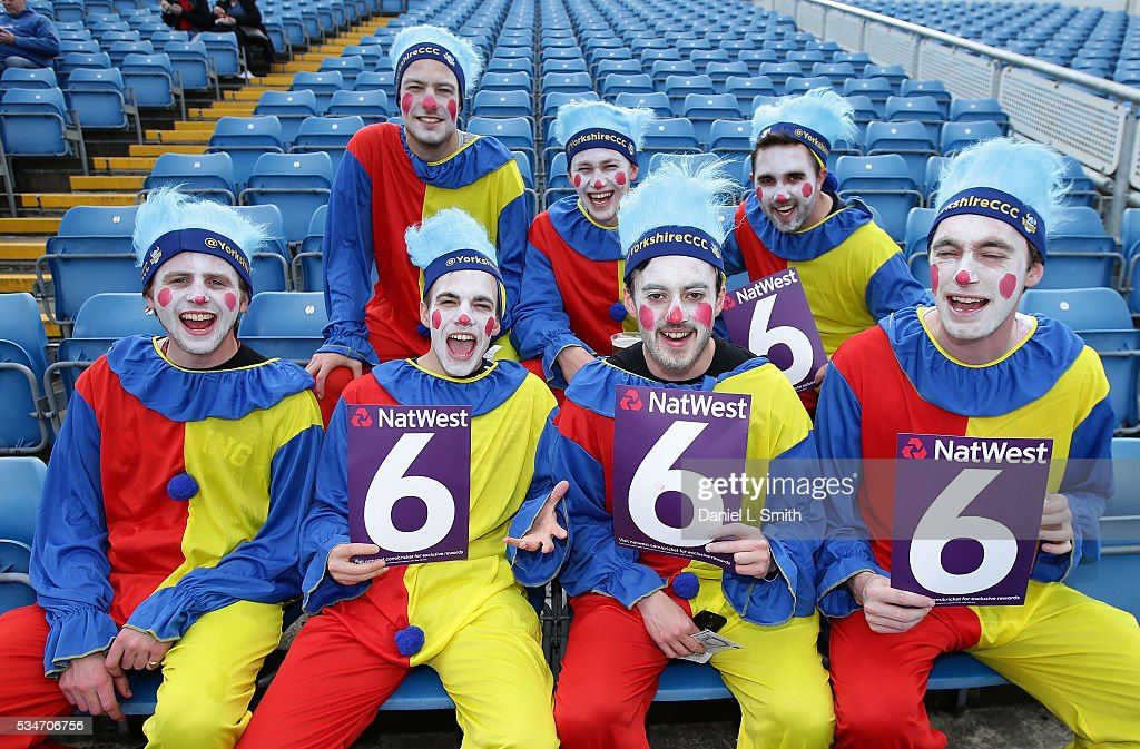 Fans of Yorkshire Vikings pose for a photograph prior to the NatWest T20 Blast match between Yorkshire and Leicestershire at Headingley on May 27, 2016 in Leeds, England.