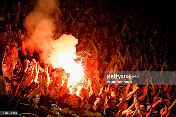 Fans of Zagreb during the UEFA Champions League Qualification third round match between Dinamo Zagreb and Arsenal at the Maksimir Stadium on August 8...