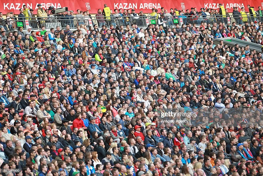 Fans of Zenit support their team during Russian Cup final match between CSKA Moscow vs Zenit St. Petersburg at Kazan Arena in Kazan, Russia on May 02, 2016.