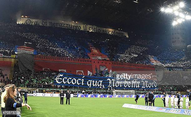 Fans ofInternazionale Milano before the Serie A match between FC Internazionale Milano and AC Milan at Stadio Giuseppe Meazza on April 19 2015 in...