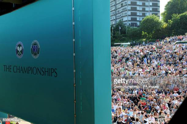 Fans on Murray mount watch his match against USA's Robert Kendrick during the 2009 Wimbledon Championships at the All England Lawn Tennis and Croquet...